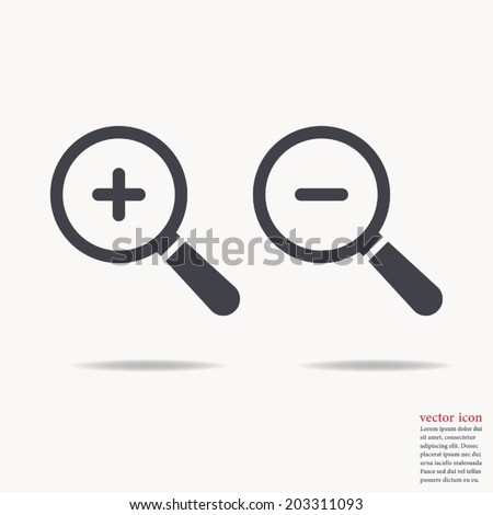 Magnify icon , zoom In and zoom out ,Vector illustration - stock vector