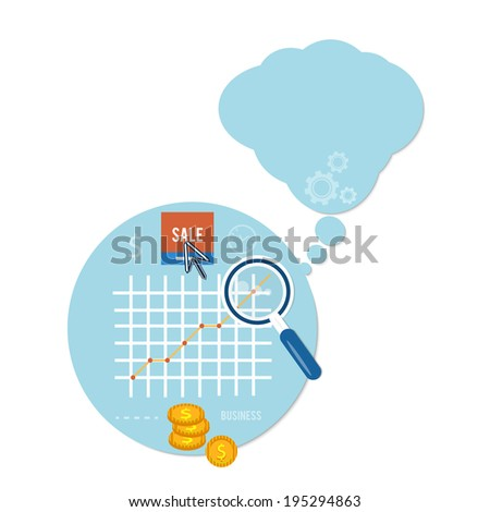 Magnifying glass and chart. Business concept of sale and analyzing - stock vector