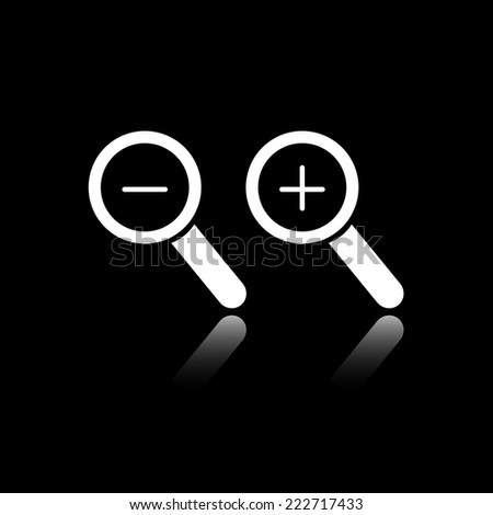Magnifying glass and diminutive. Reflecting mirror shadow. Black and white icon. Vector illustration. Series of pictures. - stock vector