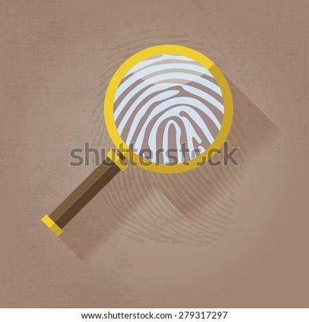 Magnifying Glass and Fingerprint  - stock vector