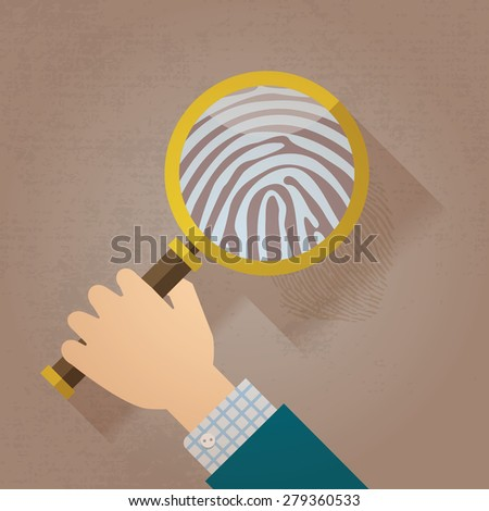 Magnifying Glass and Fingerprint  - stock vector