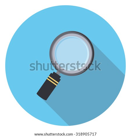 magnifying glass flat icon in circle - stock vector
