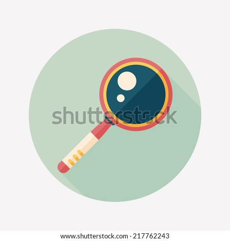 Magnifying Glass flat icon with long shadow - stock vector