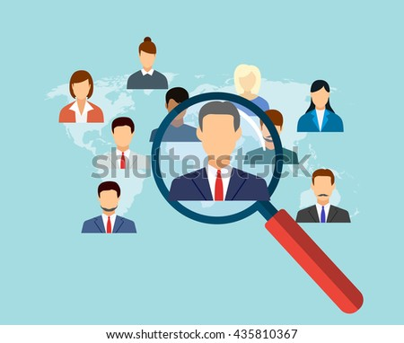 magnifying glass for choosing the right person on word map for international best position. recruitment and job search concept. vector illustration in flat design - stock vector