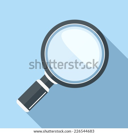Magnifying glass icon, flat design with long shadow, vector eps10 illustration - stock vector