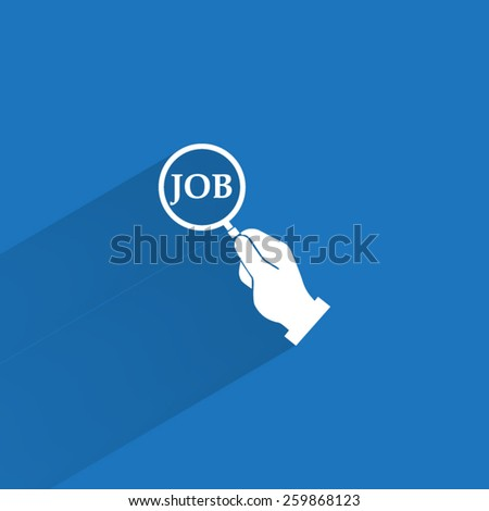 Magnifying glass in hand and word job - stock vector