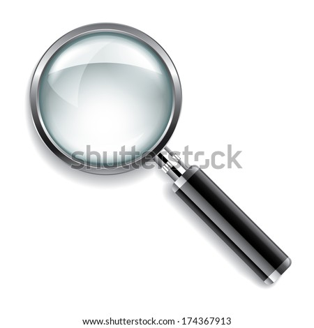 Magnifying glass isolated on white photo-realistic vector illustration - stock vector