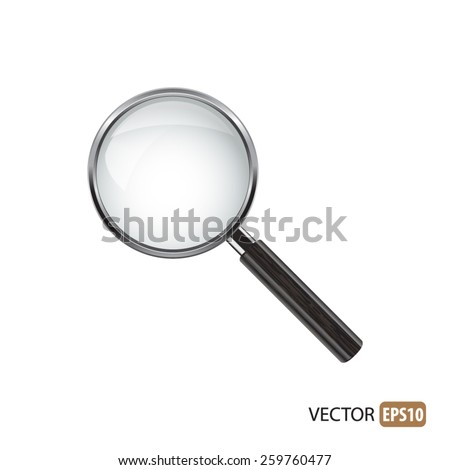 Magnifying glass isolated vector. - stock vector