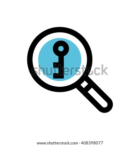 Magnifying glass, keyword research line icon. Pixel perfect fully editable vector icon suitable for websites, info graphics and print media. - stock vector