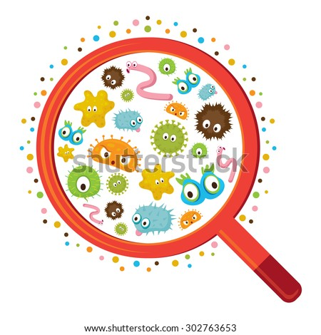 Magnifying Glass look through Germ, Bacteria, Virus, Microbe, Pathogen Characters - stock vector