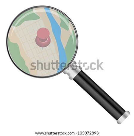 Magnifying Glass on Map Isolated on White - stock vector
