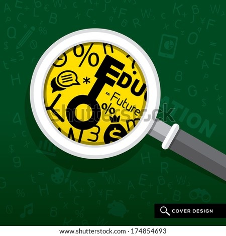 Magnifying glass on school board with Education concept Illustration - stock vector