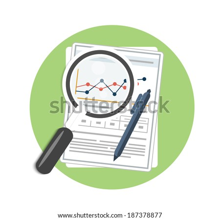 Magnifying glass, pen and chart. Business concept of analyzing - stock vector