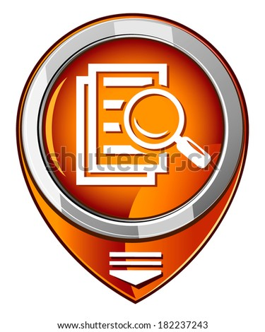 Magnifying glass round orange pointer - search the document.  - stock vector