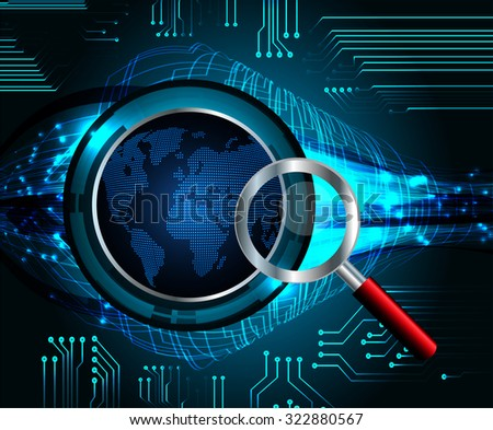 Magnifying Glass scanning and identifying a computer virus. Anti virus protection and computer security concept. PC. one zero. scan. technology digital website internet web. vector. World Map, Global - stock vector