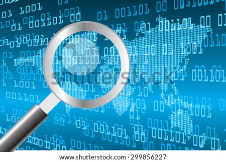 Magnifying Glass scanning and identifying a computer virus. Antivirus protection and computer security concept. PC. vector one zero. scan. technology digital website internet web .World map - stock vector