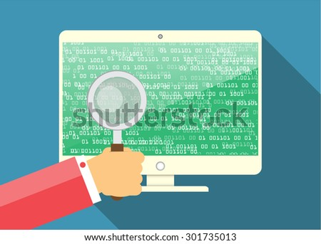 Magnifying Glass scanning and identifying a computer virus. Antivirus protection and computer security concept. PC. vector one zero. scan. technology digital website internet web. green screen - stock vector