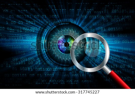 Magnifying Glass scanning and identifying a computer virus. Antivirus protection and computer security concept. PC. vector one zero. scan. technology digital website internet web. eye - stock vector