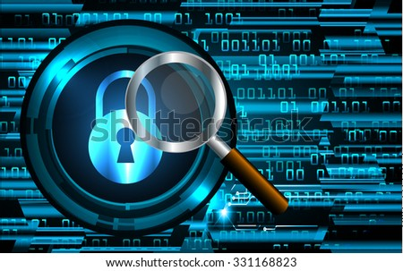 Magnifying Glass scanning and identifying a computer virus. Antivirus protection and computer security concept. PC.one zero.scan.technology digital website internet web.fingerprint. scanning.lock, key - stock vector