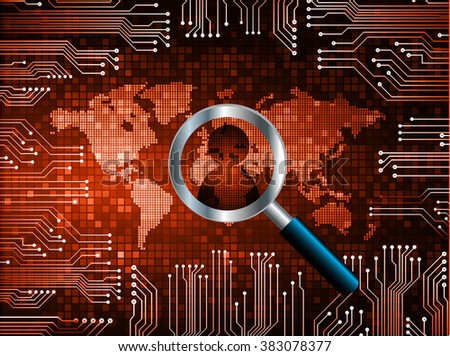 Magnifying Glass scanning and identifying a computer virus.Antivirus protection and computer security concept. PC.vector one zero.technology digital website internet web .World map.people scan. orange - stock vector