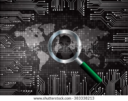 Magnifying Glass scanning and identifying a computer virus. Antivirus protection and computer security concept. PC. vector. technology digital website internet web .World map - stock vector