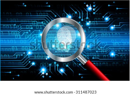 Magnifying Glass scanning identifying a computer virus.Antivirus protection computer security concept.PC vector one zero.scan.technology digital website internet web.fingerprint.scanning - stock vector