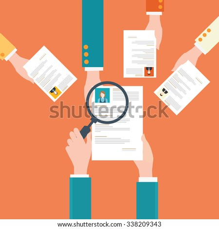 Magnifying glass searching cv or resume of candidates, business people, Human resources, conceptual vector illustration. - stock vector