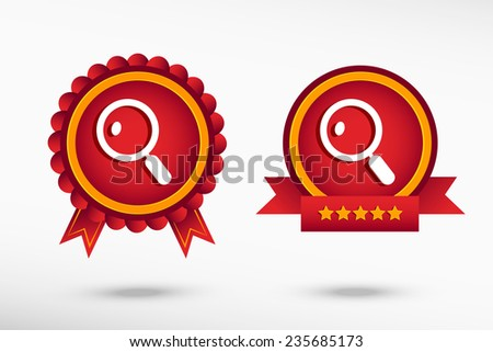 Magnifying glass stylish quality guarantee badges. Colorful Promotional Labels  - stock vector