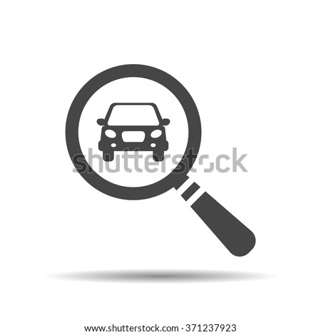 magnifying glass with a car. Car selling icon. Search car, car deal - stock vector