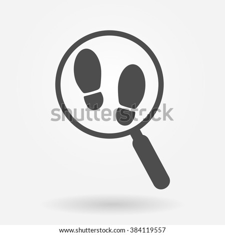 Magnifying glass with footsteps icon - stock vector