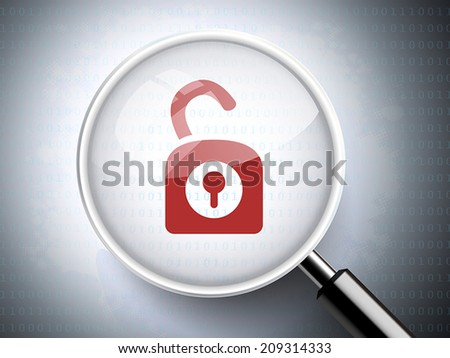 magnifying glass with opened padlock icon on digital background - stock vector
