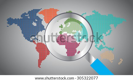 magnifying glass World map.vector. Global - stock vector