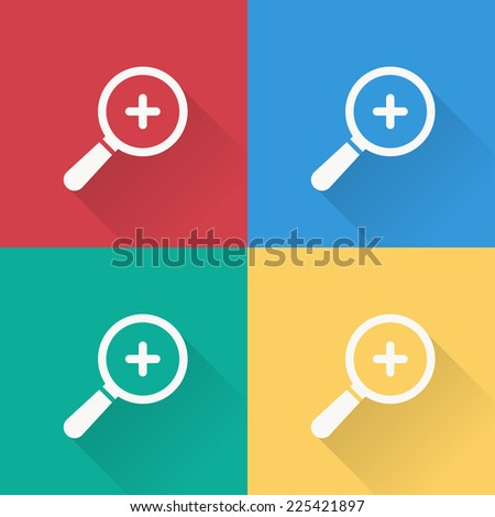 magnifying zoom icon , flat design on 4 color background - stock vector