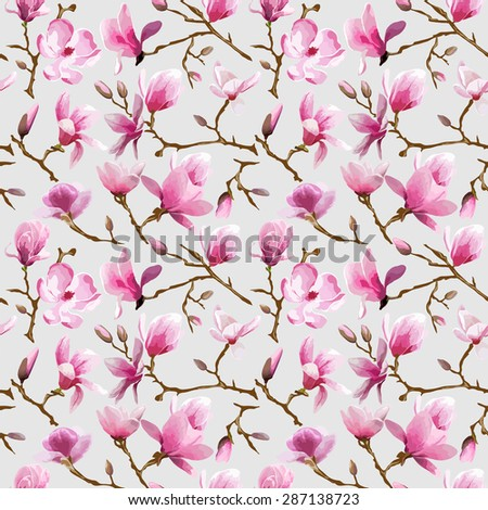 Magnolia Flowers Background - Vintage Seamless Pattern - in vector - stock vector