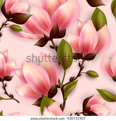 Magnolia seamless background.  - stock vector