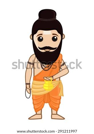 Maharishi Vishvamitra - Indian Saint Character - stock vector