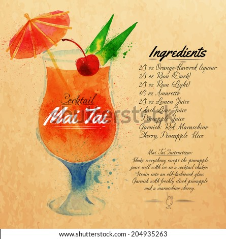 Mai Tai cocktails drawn watercolor blots and stains with a spray, including recipes and ingredients on the background of kraft - stock vector