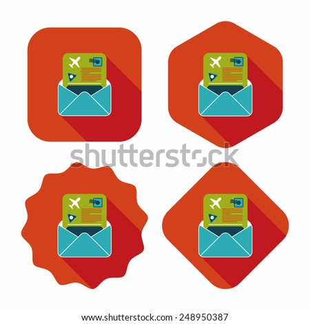 mail Air ticket flat icon with long shadow - stock vector