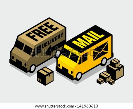 Mail and cargo delivery vans - stock vector
