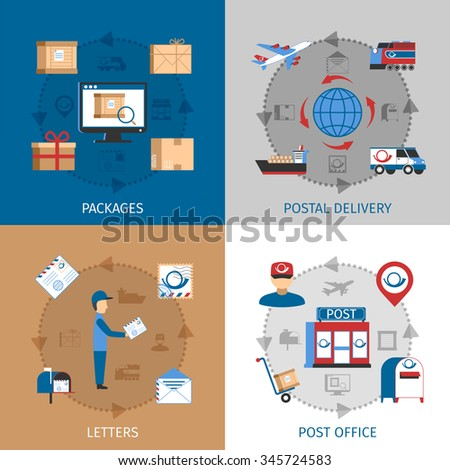 Mail concept icons set with packages post office and letters symbols flat isolated vector illustration  - stock vector