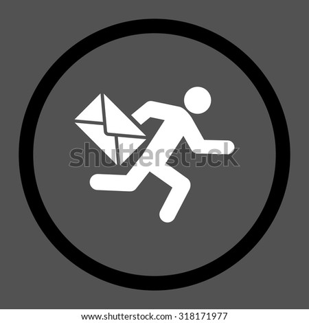 Mail courier vector icon. This rounded flat symbol is drawn with black and white colors on a gray background. - stock vector