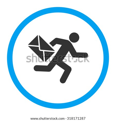 Mail courier vector icon. This rounded flat symbol is drawn with blue and gray colors on a white background. - stock vector