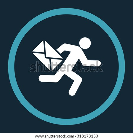 Mail courier vector icon. This rounded flat symbol is drawn with blue and white colors on a dark blue background. - stock vector