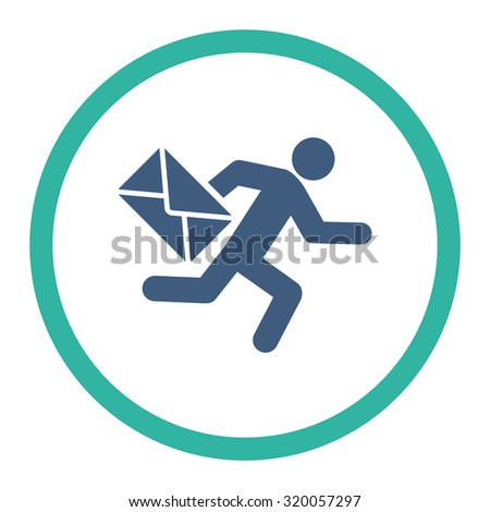 Mail courier vector icon. This rounded flat symbol is drawn with cobalt and cyan colors on a white background. - stock vector