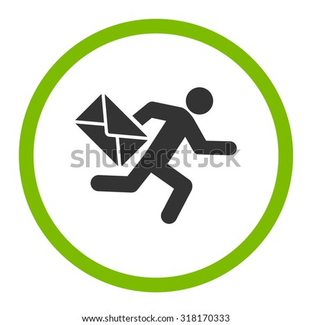 Mail courier vector icon. This rounded flat symbol is drawn with eco green and gray colors on a white background. - stock vector