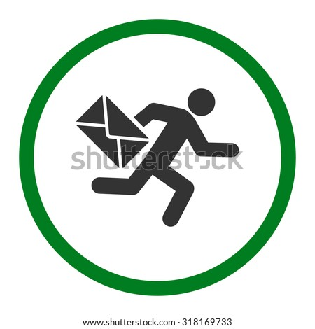 Mail courier vector icon. This rounded flat symbol is drawn with green and gray colors on a white background. - stock vector
