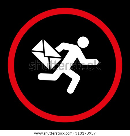 Mail courier vector icon. This rounded flat symbol is drawn with red and white colors on a black background. - stock vector