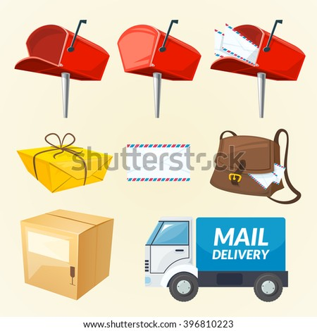 Mail delivery set of different elements, vector illustration - stock vector