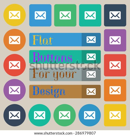 Mail, envelope, letter icon sign. Set of twenty colored flat, round, square and rectangular buttons. Vector illustration - stock vector