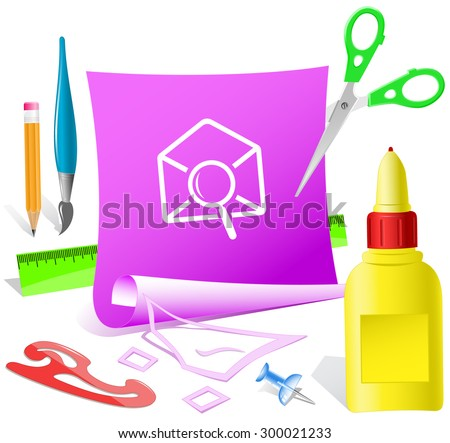 mail find. Paper template. Vector illustration. - stock vector